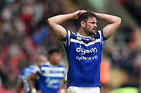Elliott Stooke of Bath Rugby looks on during a break in play. Gallagher Premiership match, between Leicester Tigers and Bath Rugby on May 18, 2019 at Welford Road in Leicester, England. Photo by: Patrick Khachfe / Onside Images