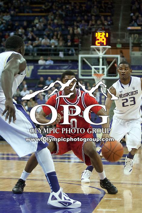 Jan 10, 2012:  Seattle University's #0 Prince Obasi against Washington.  Washington defeated Seattle University  91-83 at Alaska Airlines Arena Seattle, Washington..