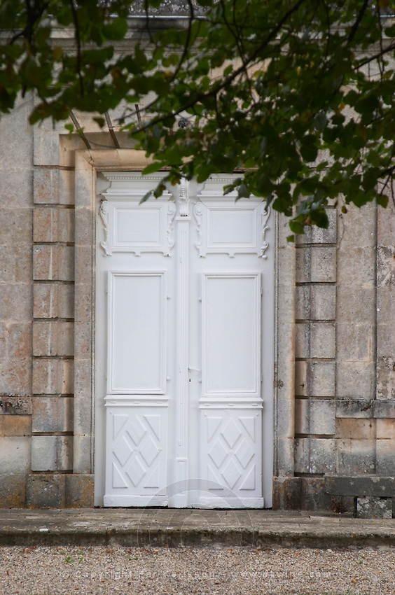 The garden park side facade of the chateau in classic but varied style, detail of the entrance door Chateau de Cerons (Cérons) Sauternes Gironde Aquitaine France