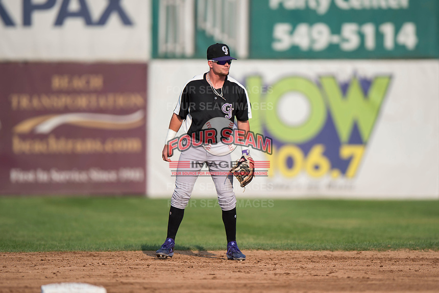 Grand Junction Rockies second baseman Hunter Stovall (1) during a Pioneer League game against the Missoula Osprey at Ogren Park Allegiance Field on August 21, 2018 in Missoula, Montana. The Missoula Osprey defeated the Grand Junction Rockies by a score of 2-1. (Zachary Lucy/Four Seam Images)