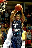 GRONINGEN - Basketbal, Donar - Weert, Dutch Baketball League, seizoen 2018-2019, 07-10-2018, Donar speler Jason Dourisseau rebound