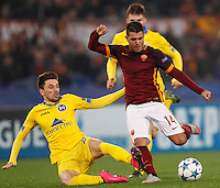 Calcio, Champions League: Gruppo E - Roma vs Bate Borisov. Roma, stadio Olimpico, 9 dicembre 2015.<br /> Roma's Iago Falque, right, is challenged by Bate Borisov's Filip Mladenovic during the Champions League Group E football match between Roma and Bate Borisov at Rome's Olympic stadium, 9 December 2015.<br /> UPDATE IMAGES PRESS/Riccardo De Luca