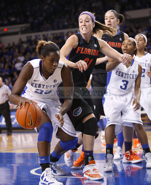 UK forward Samarie Walker gets a rebound during the second half of the UK Women's basketball game against Florida on 1/22/12 at Memorial Coliseum in Lexington, Ky. Photo by Quianna Lige | Staff