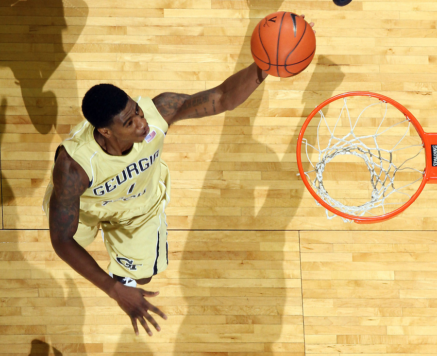 Jan. 22, 2011; Charlottesville, VA, USA; Georgia Tech Yellow Jackets guard Iman Shumpert (1) drives to the basket during the game against the Virginia Cavaliers at the John Paul Jones Arena. Virginia won 72-64. Mandatory Credit: Andrew Shurtleff-US PRESSWIRE