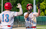WATERBURY,  CT-072719JS38-- D-Bat's Evan Johnson (14) and Wyatt Hough (13) celebrate after coming in to score on a two_RBI hit by Tavion Vaughns during their Mickey Mantle World Series game against Cyclone Ponce (PR) Saturday at Municipal Stadium in Waterbury.  <br /> Jim Shannon Republican-American