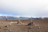Grave markers are some of the remnants of the bygone whaling era left at an abandoned Norwegian whaling base in Whalers Bay on Deception Island, in the South Shetland Islands near the Antarctic Peninsula.