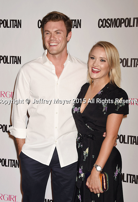WEST HOLLYWOOD, CA - OCTOBER 12: Actress Emily Osment (R) and Blake Cooper Griffin arrive at Cosmopolitan Magazine's 50th Birthday Celebration at Ysabel on October 12, 2015 in West Hollywood, California.
