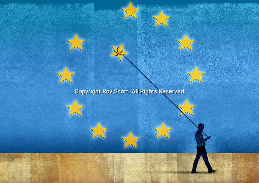 Man removing star balloon on string from European Union flag