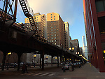 """Chicago, Illinois, United States of America / USA; December 27, 2016 -- Wabash Avenue with viaduct for Chicago """"L"""" (short for """"elevated""""), the rapid transit system -- Photo: © HorstWagner.eu"""