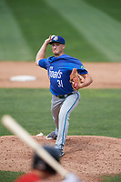 Hartford Yard Goats starting pitcher Ryan Castellani (31) delivers a pitch during a game against the Erie SeaWolves on August 6, 2017 at UPMC Park in Erie, Pennsylvania.  Erie defeated Hartford 9-5.  (Mike Janes/Four Seam Images)