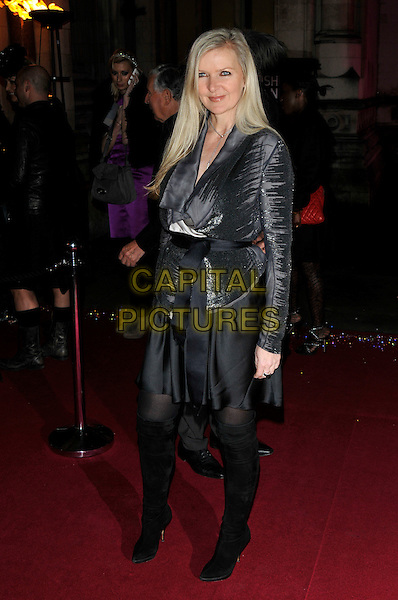 AMANDA WAKELEY.The British Fashion Awards at Royal Courts of Justice, Strand, London, England. .December 9th, 2009.full length black skirt dress grey gray knee high boots sequins sequined .CAP/PL.©Phil Loftus/Capital Pictures.