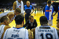 Giants coach Tim Fanning talks to his team during the national basketball league match between Wellington Saints and Nelson Giants at TSB Bank Arena, Wellington, New Zealand on Monday, 28 March 2016. Photo: Dave Lintott / lintottphoto.co.nz