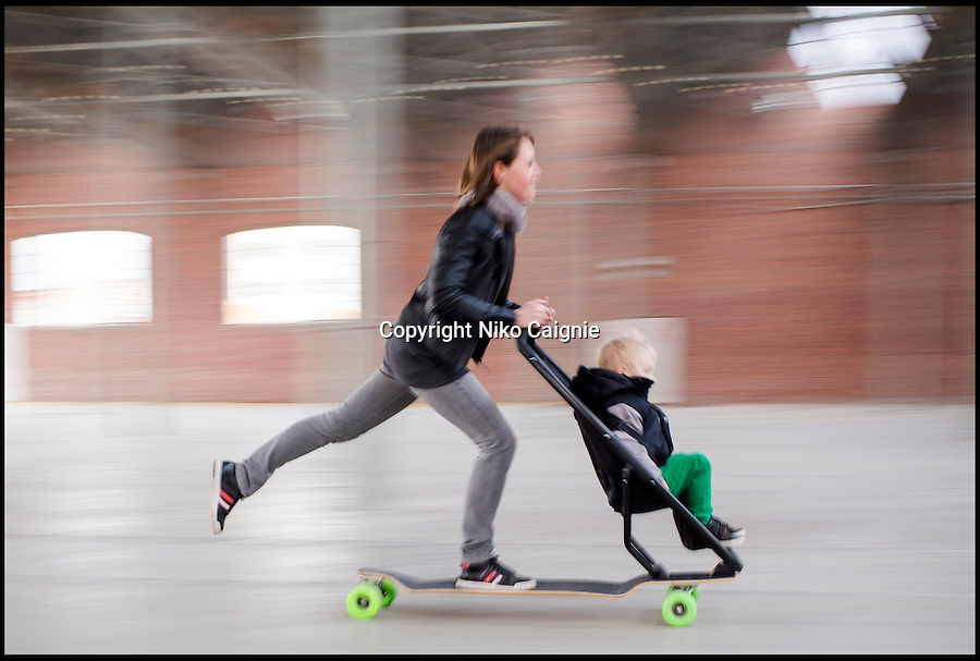 BNPS.co.uk (01202 558833)<br /> Pic: PeterVanRiet/BNPS<br /> <br /> ***Please use full byline***<br /> <br /> <br /> Adventurous parents could soon be able to take their toddlers out on skateboarding trips with them - as a pushchair has been invented that combines the two.<br /> <br /> The wacky contraption consists of an elongated skateboard, known as a longboard, which has the seat section of a child's buggy attached to the front of it.<br /> <br /> Children between the ages of nine months and four-and-a-half years old can comfortably sit in the buggy while their parents can hop on the back and propel it along.<br /> <br /> The bizarre product, dubbed the 'Longboardstroller' has also been enhanced with a brake at the back and handlebars for steering behind the seat section.<br /> <br /> The enhanced pushchair has been created by design studio, Studio Peter Van Riet in Antwerp, Belgium as a partnership with children's product brand Quinny.<br /> <br /> Inventors behind the Longboardstroller hope that it will be an environmentally friendly alternative to travelling in cities and that parents will choose it over a car or bus.<br /> <br /> Around eight prototypes of the product have been invented and it is currently being tested and evaluated for health and safety measures.