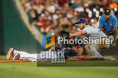 22 July 2016: San Diego Padres first baseman Brett Wallace in action against the Washington Nationals at Nationals Park in Washington, DC. The Padres defeated the Nationals 5-3 to take the first game of their 3-game, weekend series. Mandatory Credit: Ed Wolfstein Photo *** RAW (NEF) Image File Available ***