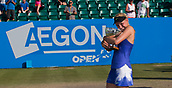 June 18th 2017, Nottingham, England; WTA Aegon Nottingham Open Tennis Tournament day 7 finals day;  Donna Vekic of Croatia hugs the Elena Baltacha trophy after defeating Johanna Konta of Great Britain in the ladies singles final by two sets to one