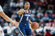 College Park, MD - DEC 29, 2016: Connecticut Huskies guard Crystal Dangerfield (5) calls a play during game between No. 1 UConn and the No. 3 Terrapins at the XFINITY Center in College Park, MD. UConn defeated Maryland 87-81. (Photo by Phil Peters/Media Images International)
