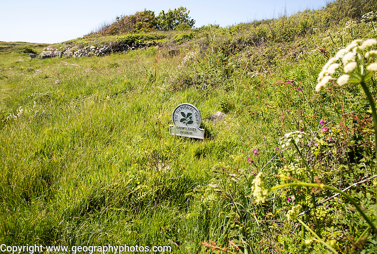 National Trust sign, Lowland Point, Lizard Peninsula, Cornwall, England, UK