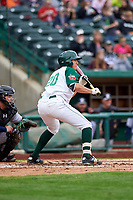 Fort Wayne TinCaps Agustin Ruiz (20) shows bunt during a Midwest League game against the Kane County Cougars at Parkview Field on May 1, 2019 in Fort Wayne, Indiana. Fort Wayne defeated Kane County 10-4. (Zachary Lucy/Four Seam Images)