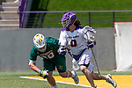 \ua0 attacks as UAlbany Lacrosse defeats Vermont 14-4  in the American East Conference Championship game at Casey Stadium, May 5.