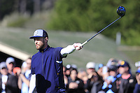 Singer Justin Timberlake prepares to tee off the 1st tee at Pebble Beach Golf Links during Saturday's Round 3 of the 2017 AT&amp;T Pebble Beach Pro-Am held over 3 courses, Pebble Beach, Spyglass Hill and Monterey Penninsula Country Club, Monterey, California, USA. 11th February 2017.<br /> Picture: Eoin Clarke | Golffile<br /> <br /> <br /> All photos usage must carry mandatory copyright credit (&copy; Golffile | Eoin Clarke)