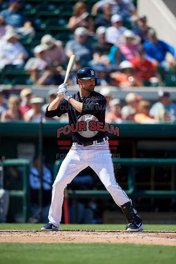 Detroit Tigers shortstop Jordy Mercer (7) at bat during a Grapefruit League Spring Training game against the Atlanta Braves on March 2, 2019 at Publix Field at Joker Marchant Stadium in Lakeland, Florida.  Tigers defeated the Braves 7-4.  (Mike Janes/Four Seam Images)