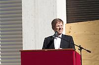 "13th Biennale of Architecture..Giardini..Austrian Pavillion..Wolfgang Tschapeller, Rens Veltman, Martin Perktold, ""hands have no tears to flow..."", 2012..Opening speech by Secretary of State Josef Ostermayer."