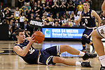 24 February 2016: Notre Dame's Steve Vasturia grabs a loose ball on the court. The Wake Forest University Demon Deacons hosted the University of Notre Dame Fighting Irish at Lawrence Joel Veterans Memorial Coliseum in Winston-Salem, North Carolina in a 2015-16 NCAA Division I Men's Basketball game. Notre Dame won the game 69-58.