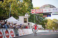 clear winner Greg Van Avermaet (BEL/BMC) crosses the finish line while Tony Gallopin (FRA/Lotto-Belisol) &amp;  Jan Bakelants (BEL/OmegaPharma-Quickstep) battle it out for 2nd<br /> <br /> Grand Prix de Wallonie 2014