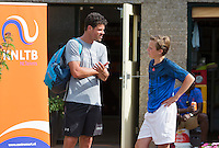 Netherlands, Dordrecht, August 03, 2015, Tennis,  National Junior Championships, NJK, TV Dash 35,  Coach and player talk<br /> Photo: Tennisimages/Henk Koster