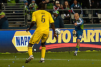 Freddie Ljungberg(10) of the Seattle Sounders puts a shot on goal against Andy Iro(6) of the Columbus Crew at the XBox 360 Pitch at Quest Field in Seattle, WA on May 1, 2010. the Sounders and Crew played to a 1-1 draw.