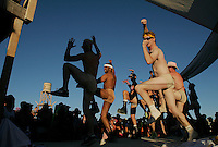 BLACK ROCK CITY,NV - AUGUST 27,2008: The Yatta dancers perform at the Deep End Dance Camp, August 27,2008. The Burning Man Event 2008 kicked into full gear  as participants from around the world converge in Neveda for the annual art event. The event, near Gerlach, Nevada has grown from a few thousand people over 30,000 people annually.