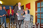 As part of the Gary McMahon Singing Festival in Abbeyfeale, a tribute to Pat Brosnan was held in Fr. Casey's GAA Clubhouse in Abbeyfeale on Sunday.  Pictured  here is Pat Brosnan (in wheelchair) being presented with a slate, on which is painted the words of one of his many poems.