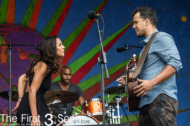 Amanda Sudano and Abner Ramirez of Johnnyswim performs during the New Orleans Jazz & Heritage Festival in New Orleans, LA.
