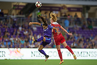 Orlando, FL - Tuesday August 08, 2017: Camila Martins Pereira, Tori Huster during a regular season National Women's Soccer League (NWSL) match between the Orlando Pride and the Chicago Red Stars at Orlando City Stadium.