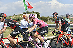 The peleton including race leader Maglia Rosa Rohan Dennis (AUS) BMC Racing Team in action during Stage 6 of the 2018 Giro d'Italia, running 169km from Caltanissetta to the Etna (Osservatorio Astrofisico) marks the first mountain finish of the race finishing on the Osservatorio Astrofisico climb for the first time in race's history, Sicily, Italy. 10th May 2018.<br /> Picture: LaPresse/Fabio Ferrari | Cyclefile<br /> <br /> <br /> All photos usage must carry mandatory copyright credit (&copy; Cyclefile | LaPresse/Fabio Ferrari)