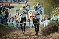 Superprestige Zonhoven 2013<br /> <br /> Rob Peeters (BEL) &amp; Thijs Al (NLD) doing a relaxed recon of the course