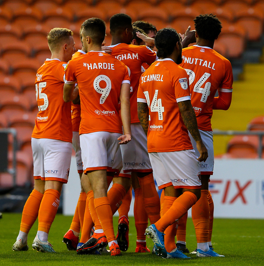 Blackpool's Ben Heneghan celebrates scoring the opening goal with teammates<br /> <br /> Photographer Alex Dodd/CameraSport<br /> <br /> EFL Leasing.com Trophy - Northern Section - Group G - Blackpool v Morecambe - Tuesday 3rd September 2019 - Bloomfield Road - Blackpool<br />  <br /> World Copyright © 2018 CameraSport. All rights reserved. 43 Linden Ave. Countesthorpe. Leicester. England. LE8 5PG - Tel: +44 (0) 116 277 4147 - admin@camerasport.com - www.camerasport.com