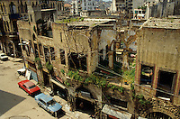 Street full of apartment buildings destroyed by the Lebanese Civil War, Beirut, Lebanon.
