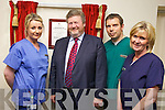 Dr. James O'Reilly, Minister for Health, at the opening the new Emergency Department at Kerry General Hospital on Friday. Pictured from left: Elaine Guerin (staff nurse), Minister O'Reilly, Joe Coolahan (Advanced Nurse Practitioners) and Margaret Buck (Shift Leader in A&E).