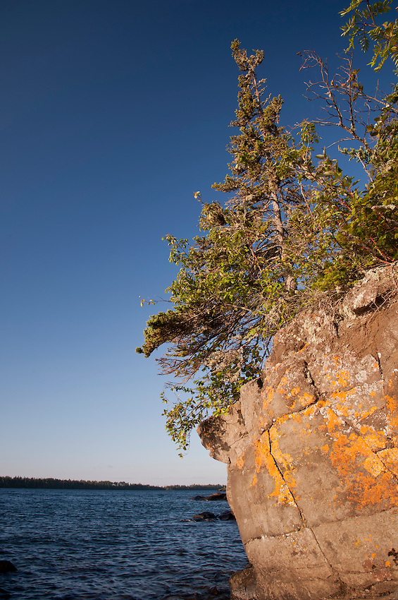 The rugged Lake Superior shoreline at Rock Harbor at Isle Royale National Park in Michigan USA.