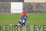 Ballyhar Dynamos John Daly gets in a good tackle against  Tralee Dynamos James Wall at Cahermoneen, Tralee on Sunday...