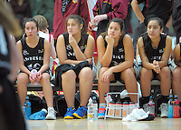 Hawkes Bay girls players watch fromt he reserves bench during the National Under-15 Basketball Championship at the ASB Sports Centre, Kilbirnie, Wellington, New Zealand on Thursday, 25 July 2013. Photo: Dave Lintott / lintottphoto.co.nz