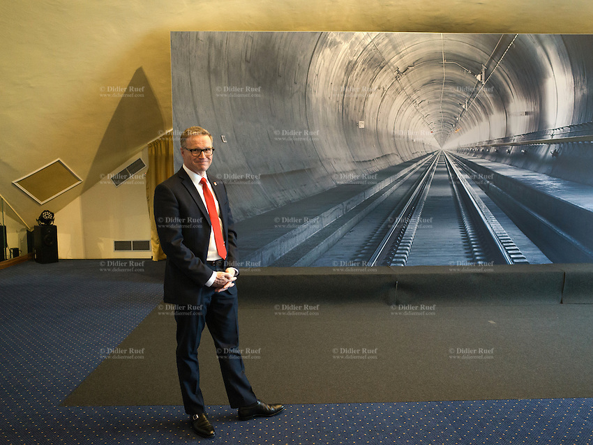 Switzerland. Canton Ticino. Lugano. Andreas Meyer is the CEO of the Swiss federal Railways (SBB CFF FFS). He stands in the Hotel Splendide Royal close to a giant photography of the Gotthard Base Tunnel (GBT) which will be officialy open a day after. 31.05.2016 © 2016 Didier Ruef