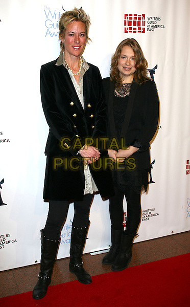 LIZ BRIXIUS & MERRITT WEVER .The 63rd annual Writers Guild Awards at the AXA Equitable Center on February 5, 2011 in New York, New York, NY, USA, 5th February 2011..full length black velvet jacket knee high boots .CAP/ADM/PZ.©Paul Zimmerman/AdMedia/Capital Pictures.