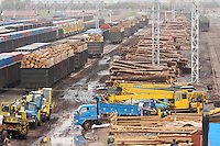 Loads of unprocessed timber are imported from Russia, are seen in the Manzhouli railway station, Inner Mongolia, China. China is increasingly importing more and more of the world's natural resources as it continues to grow at an astranomical pace..29 May 2008