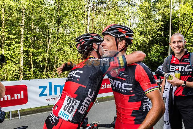 Phillipe GILBERT (BEL, BMC) celebrating his win with Samuel SANCHEZ (ESP, BMC) Stage 4 Hotel Verviers - La Gileppe (Jalhay), België, Ster ZLM Toer, Gileppe Belgium, 21th June 2014, Photo by Thomas van Bracht / Peloton Photos