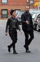www.acepixs.com<br /> <br /> February 23 2017, New York City<br /> <br /> Actors Sullivan Stapleton (R) and Jaimie Alexander were on the set of the TV show 'Blindspot' on February 23 2017 in New York City<br /> <br /> By Line: Zelig Shaul/ACE Pictures<br /> <br /> <br /> ACE Pictures Inc<br /> Tel: 6467670430<br /> Email: info@acepixs.com<br /> www.acepixs.com