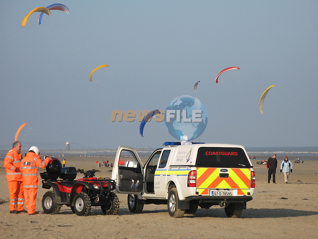 Members of the Irish Coast Guard assisting at the Irish Kite Racing weekend on Bettystown Beach in February..Photo: Newsfile/Fran Caffrey.