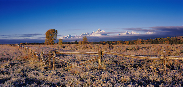 Teton Range and fence with frost, Grand Teton NP,Wyoming, September 2005