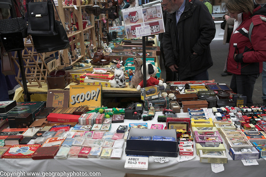 Stall selling old children's games and toys Greenwich market, London, England